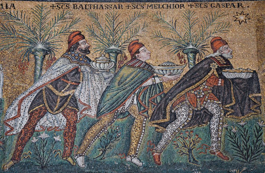 etail of nave mosaic depicting the Three Magi (Balthasar, Melchior, and Gaspar)