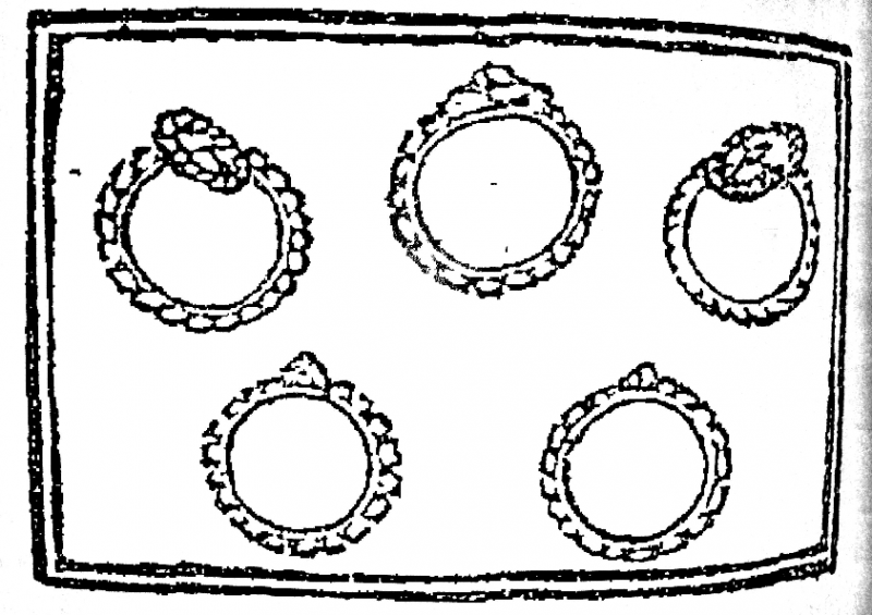 "Illustration of ""five gold rings"", from the first known publication of ""The Twelve Days of Christmas"""