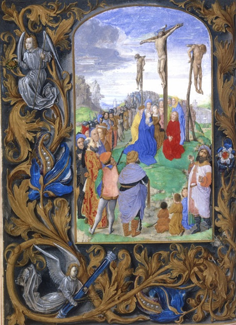 Fig. 16 : Hours of Mary of Burgundy, fol. 99v: Justus van Ghent(?), The Crucifixion, ca. 1465/70, tempera on parchment, 22.5 x 16.3 cm. Österreichische Nationalbibliothek, Vienna, Cod. 1587 (artwork in the public domain)