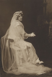 Woman in wedding gown