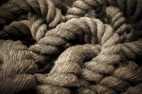 Old rope in knots