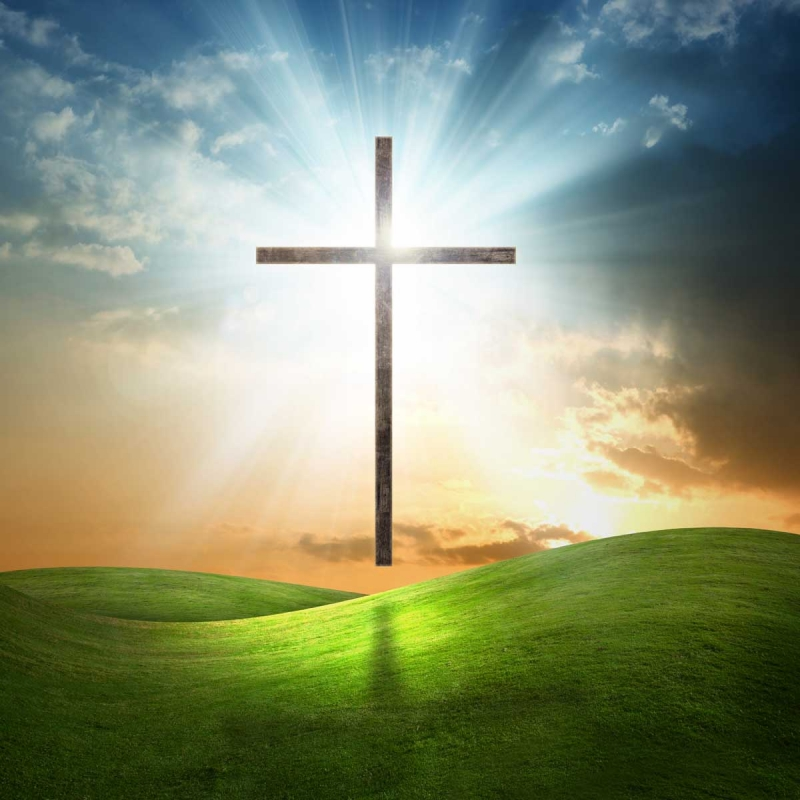 Christian cross on grassy background