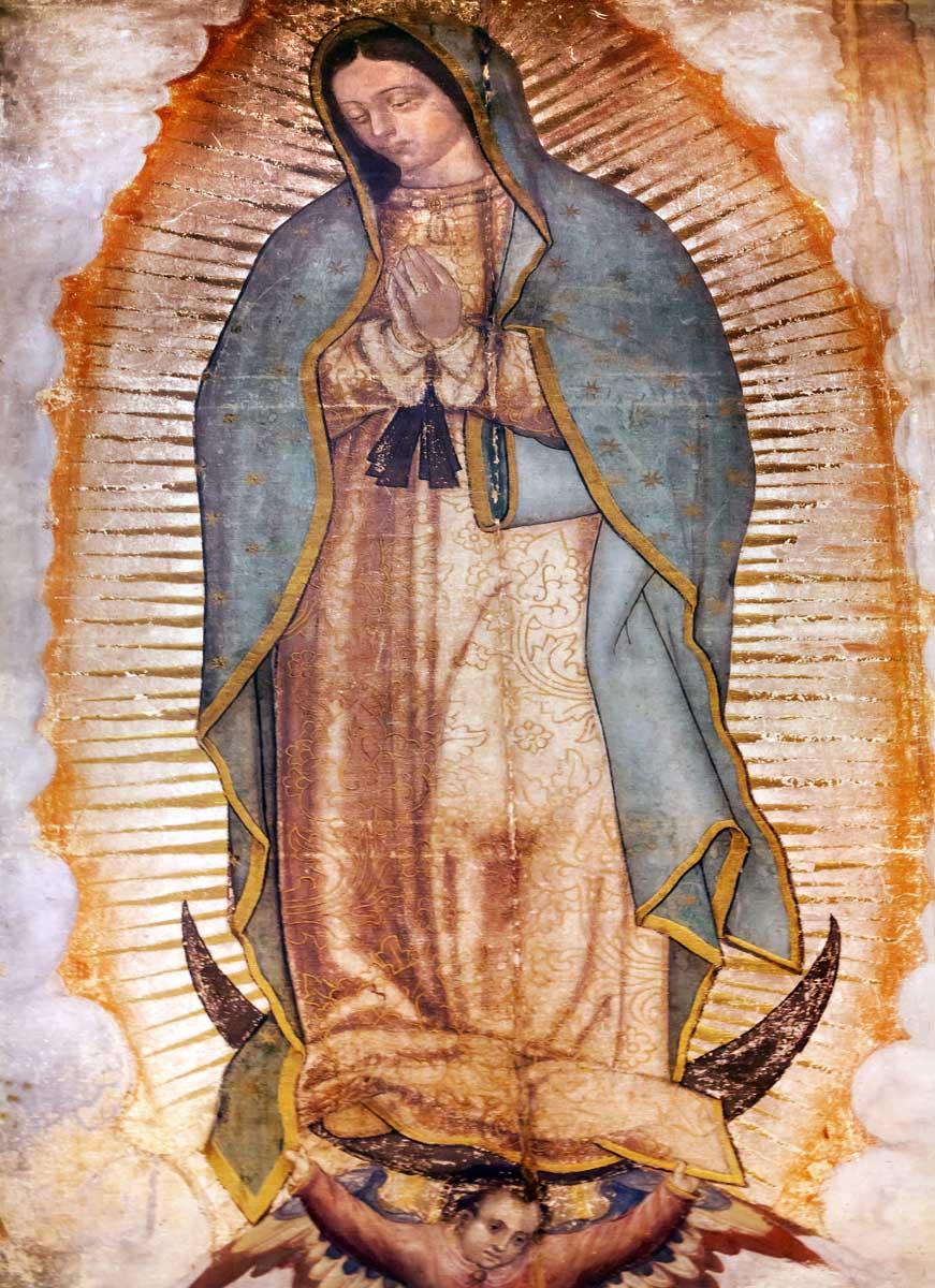 Original Virgin Mary Guadalupe Painting New Basilica Shrine Mexi