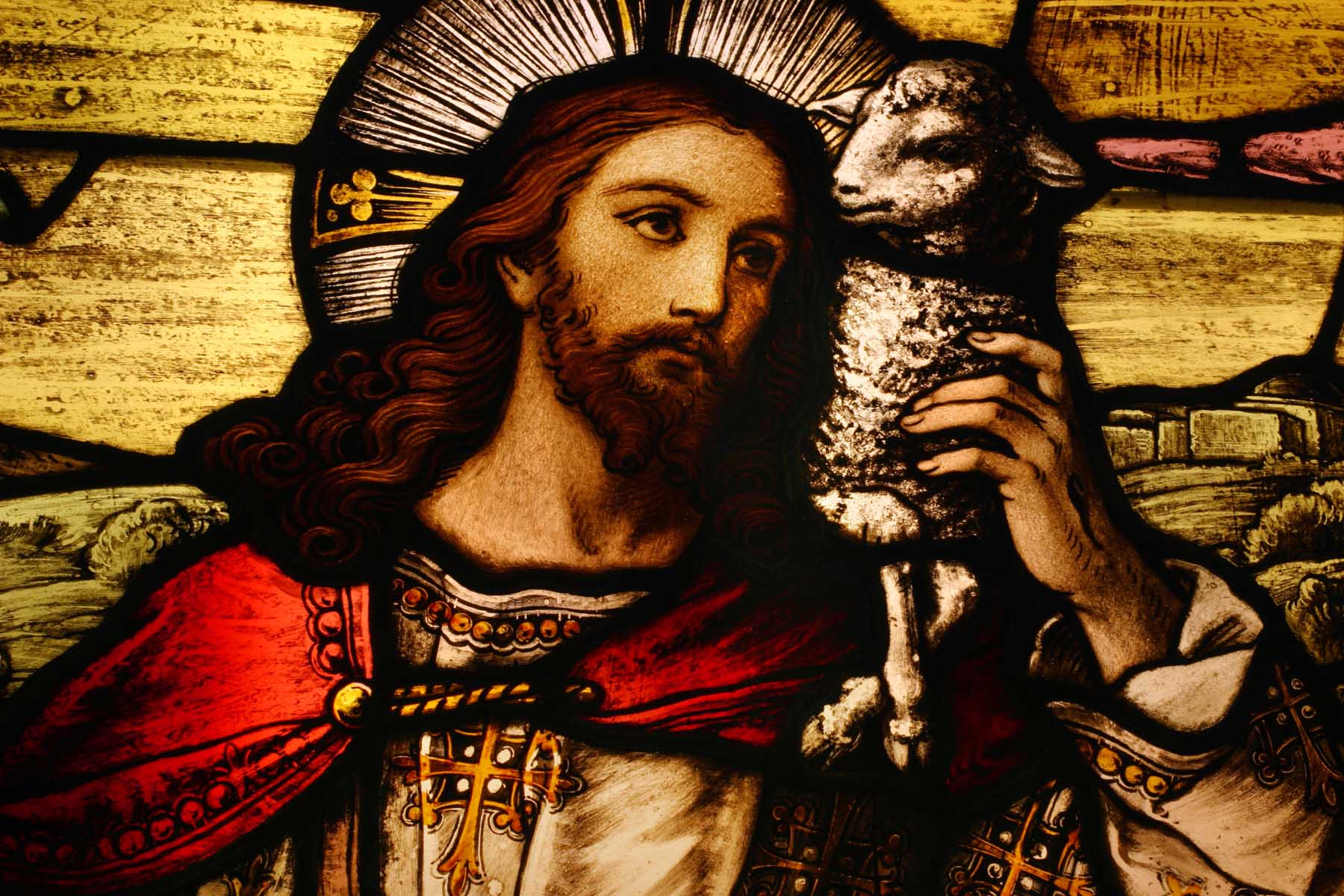 Jesus with Lamb - Stained glass
